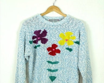 Winter Sale 40% Off Vintage White /Pale Blue Marled x Floral Round Neck sweater form 80's*