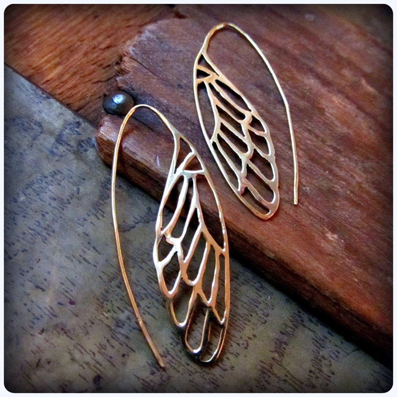 Wing earrings in gold brass dragonfly butterfly cicada zoom biocorpaavc