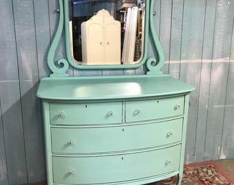 Jadeite green antique dresser with mirror shabby chic distressed cottage