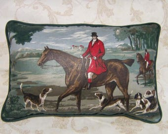 Handmade ENGLISH FOXHUNT Medium Size Horse Pillow w/piping trim Quality Upholstery Fabric Green Tones