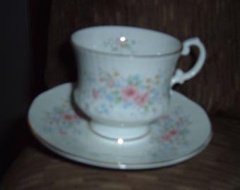 "Demitassee Cup and Saucer, Elizabethan,"" Inglewood"" Bone China,Elizabethan England, Hand Decorated, Bone China, Staffordshire Demitasse Set"
