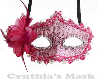 Pink Floral Mask w/Rhinestones and Glitter for Costume Masquerade Ball Dancing  SKU: BZ627I(7N21)