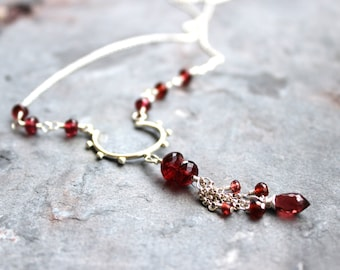 Garnet Necklace Red Gemstone Necklace Sterling Silver Tassel Necklace beads and chains