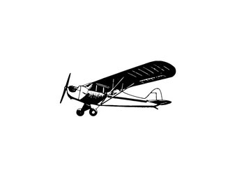 Digital SVG PNG Airplane, Aircraft, Plane, Monoplane, Aviation, Propeller, Transportation, Clipart, Vector, Silhouette, Instant Download