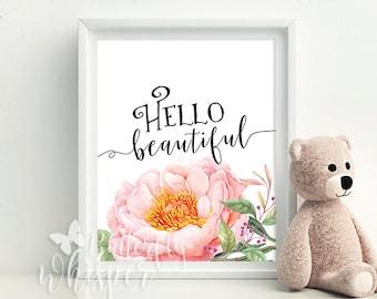 Hello beautiful sign wall art printable nursery wall decor pink flower watercolor art typographyc print nursery art print pink wall art