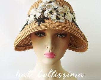 SALE  1920's Vintage Style straw hat Summer hat hatbellissima millinery cloche Hats