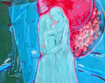 Contemporary art original mixed media collage on paper modern artwork by Elisaveta Sivas