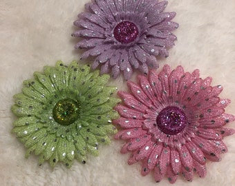 Shimmery Glam Pastel Flower Hair Clips (bundle of 3)