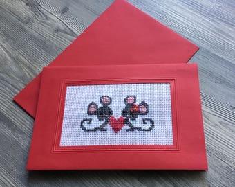 Valentine card cross stitch mice with heart