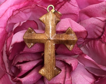 """Vintage 60's  """"Wooden Cross"""" with a Gold Toned Bale"""