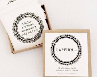 affirmation cards  || 'I AFFIRM...' deck of cards (x40) || inspirational cards || affirmations || inspirational gifts || soul sister gift