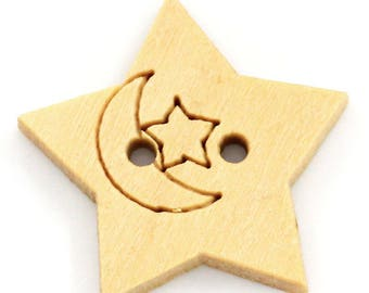5 buttons shaped like stars decor wood Crescent Moon - 21mm - 2 holes - light wood