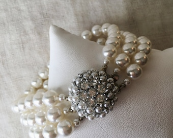 Vintage Faux Pearl 3 Strand Bracelet, Rhinestone Clasp, Wedding Jewelry, Estate Jewelry, PK135