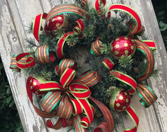 Christmas Wreaths, Christmas Wreath,Traditional Christmas Wreath, Large Christmas Wreath, Double Door Christmas Wreaths, Wreath Christmas