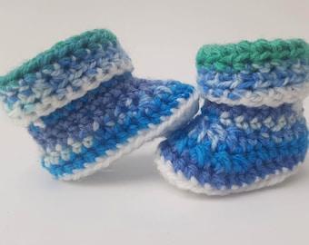 Multicolour Blue Baby Crochet Booties