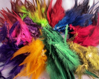 100 Saddle feathers calypso mix 3 to 6 inches craft feathers real feathers wholesale feathers bulk feathers