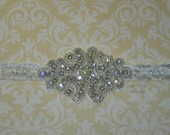 Silver Jeweled Headband Silver & White Baby Headband Flower Girl Headband Bridal Headband Toddler Headband Prom Headband Bridesmaid Headband