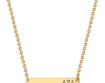Alpha Xi Delta Sorority Bar Necklace / Alpha Xi Delta Necklace / Sorority Necklace / Sorority Gift / Big Little Gift / Sorority Jewelry