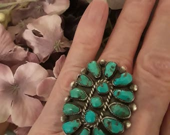 Sterling silver native American turquoise ring, size 6 1/2