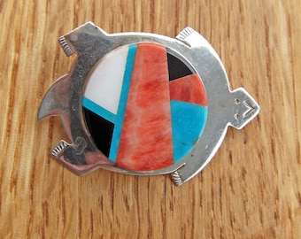 Native American Ben Yazzie Navajo Sterling Silver Inlay Turtle Pendant Pin Brooch Signed