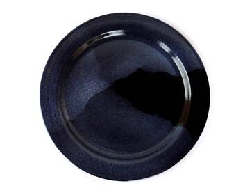 Large plate or cake tray, blue, stoneware