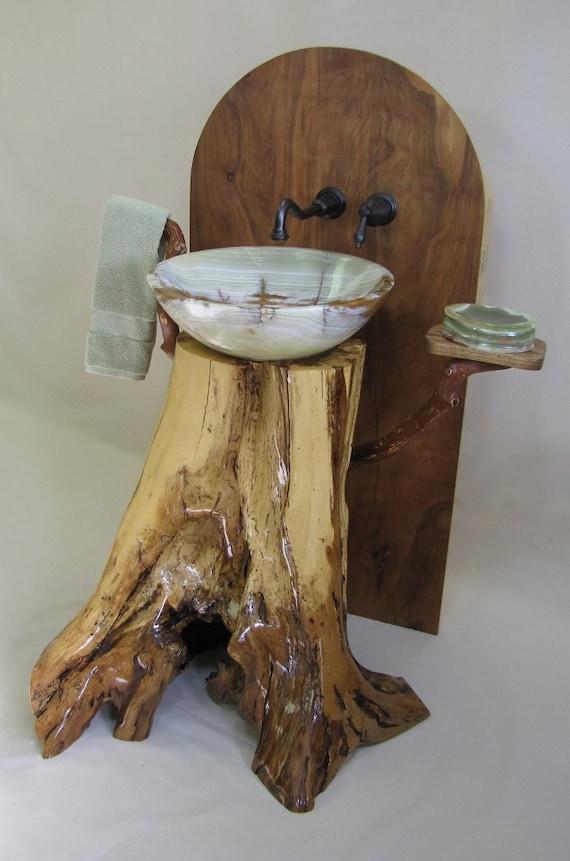 Chestnut Oak Pedestal Sink With Green Onyx Vessel