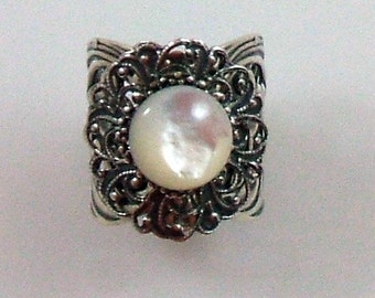 Victorian Lace Ring with Mother of Pearl Cabochon