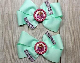 Paw Patrol, Skye Mint Green Pinwheel Hair Bow