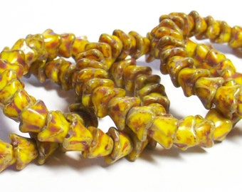 25 - Czech Pressed Glass 8x6mm 4-petaled Bell Flower Beads - Bohemian Spacer Beads / Accent Beads / Floral Beads - Opaque Yellow Picasso