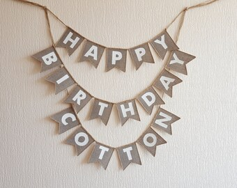 happy birthday banner, burlap happy birthday banner, happy birthday sign, birthday decor, happy birthday bunting, country Birthday Banner