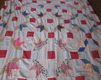 Vintage Patchwork Quilt Top Hand Stitched