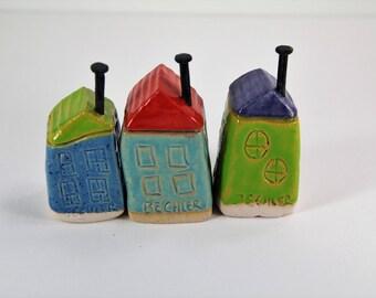 clay house, ceramic house, house, house set, painted house