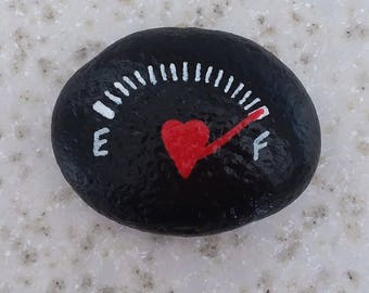 Love tank is full, Valentines Day, hand painted rock