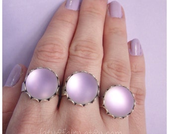 Frosted Lavender seaglass ring adjustable