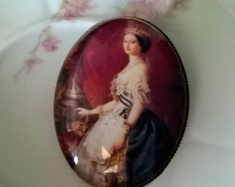 Victorian Lady Brooch,Queen Brooch Pin,Cameo Brooch