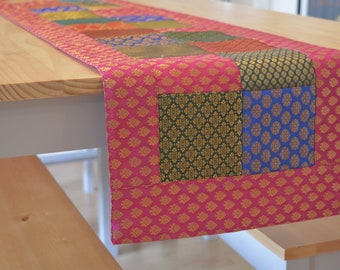 Bright Fuchsia &  Multi Colour Brocade Patchwork Table Runner , Dining and Entertaining, Kitchen and Housewares, Beautiful Silk Patchwork