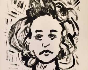 Female Monotype Portrait in Akua Ink 8x10 Inches