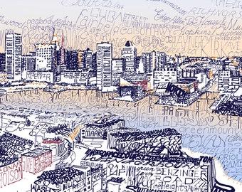 "Baltimore Inner Harbor Skyline Word Art - 16""x20"" - FREE Shipping - Baltimore Art - Home Decor Art - Baltimore Print - Wall Art"