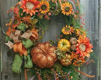Grapevine Pumpkin wreath, Pumpkin wreath, Fall wreaths, Fall pumpkins, Grapevine Floral Wreath, Fall decor,  Pumpkin Decor,  Fall Grapevine