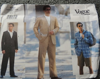 Vogue 1753 Mens Jacket, Vest, Shorts and Pants in sizes 44-46-48 (uncut)