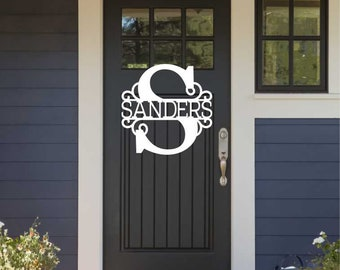 "Monogram with Last Name - 14""-24""  - Door Hanger - Unfinished Wood - Wall Hanging - Wreath Sign - 210149"