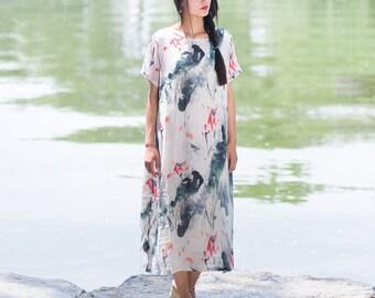 Womens Retro Ink Printed Floral Loose Fitting Silk Long Dresses, Summer Folk Loose Fitting Silk Casual Dresses, Womens Dress, Summer Dresses
