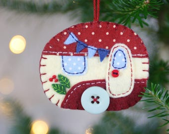 Felt Christmas ornament, Vintage caravan Christmas ornament, Vintage trailer Christmas ornament, Handmade felt caravan Christmas ornament