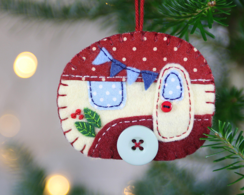 Felt christmas ornament vintage caravan christmas ornament