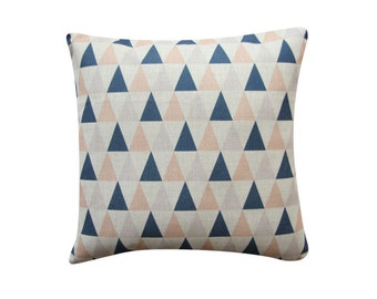 "Blue Peach Triangle Pillow Cover, Scandinavian Geometric Cushion, 18"" x 18"" Decorative Pillow Cover Kids Room Throw Pillow 133"