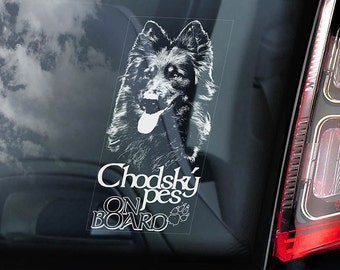 Chodský pes on Board - Car Window Sticker - Bohemian Shepherd Dog Sign Art Decal - V01