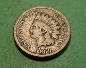 1859 Indian Head Cent Very Good  <> The Coin you see is the coin you get <> Free S.H. to U.S.<> Insurance Included in SH <>ET003