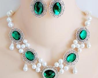 Green & Silver, Renaissance Necklace, Earrings, Medieval Necklace, Medieval Jewelry, Renaissance Jewelry, Game of Thrones, Ready to Ship