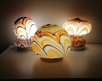 Mushroom lamp Murano murrina glass lot of 3 pc Made in Italy 1960s