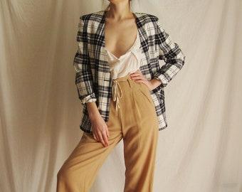 80s Plaid Cotton Blazer  XS S M